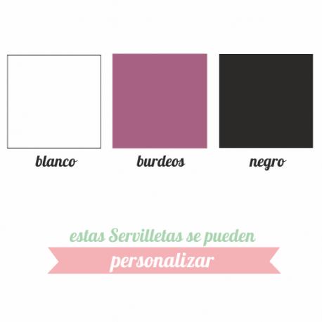 servilletas 20x20 - 3 capas en color blanco, burdeos y negro